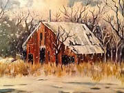 Snow Scene Painting Prints - Kansas Snow Print by Sheila Kinsey