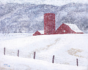 Kansas Pastels Prints - Kansas Snow Storm Print by Garry McMichael