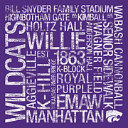 Wagner Posters - Kansas State College Colors Subway Art Poster by Replay Photos
