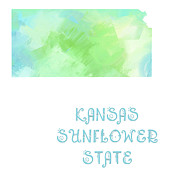 Maps Prints - Kansas - Sunflower State - Map - State Phrase - Geology Print by Andee Photography