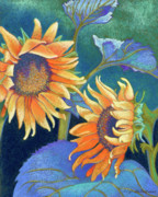 Yellow Flowers Pastels Posters - Kansas Suns Poster by Tracy L Teeter