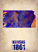 Modern Poster Framed Prints - Kansas Watercolor Map Framed Print by Irina  March