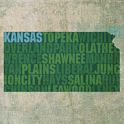 Kansas Framed Prints - Kansas Word Art State Map on Canvas Framed Print by Design Turnpike