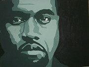 Rapper Paintings - Kanye Green by JJ  Burner