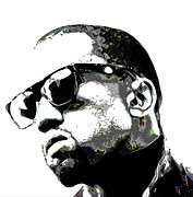 Black And White Digital Art Prints - Kanye West Print by Byron Fli Walker