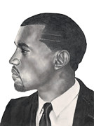 Kanye West Drawings Originals - Kanye West by Michael Durocher