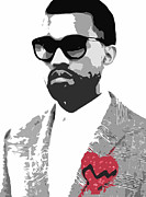 Stencil Art Prints - Kanye West Print by Mike Maher