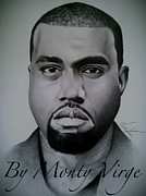 Kanye West Drawings Originals - Kanye West by Monty Virge