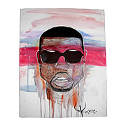 Kanye West Drawings Originals - Kanye West Portrait by Rackoe Rako