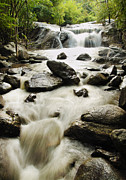 Wonderful Pyrography Prints - Kao Chon waterfall at Ratchaburi in Thailand Print by Thanapol Kuptanisakorn