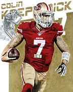 Colin Kaepernick Framed Prints - Kap Attack Colin Kaepernick Framed Print by Joshua Jacobs