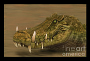 One Animal Digital Art Posters - Kaprosuchus Saharicus Head Detail Poster by Alvaro Rozalen