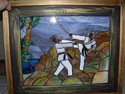 Stained Glass Art Glass Art Framed Prints - Karate Framed Print by Nora Solomon
