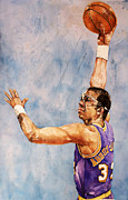 Basketball Sports Mixed Media Prints - Kareem Abdul Jabbar Print by Michael  Pattison
