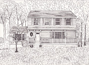 Technical Drawings Drawings Prints - Karens House Print by Michelle Welles