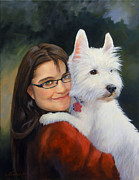 Westie Terrier Paintings - Karie and Willy by Jeanne Newton Schoborg