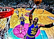 Dunk Framed Prints - Karl Malone Framed Print by Florian Rodarte