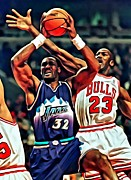 National Basketball Association Prints - Karl Malone vs. Michael Jordan Print by Florian Rodarte
