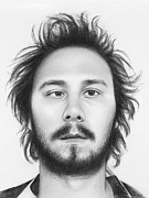 Graphite Portrait Drawings Prints - Karl - Workaholics Print by Olga Shvartsur