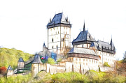 Czech Digital Art Metal Prints - Karlstejn - famous gothic castle Metal Print by Michal Boubin