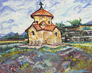 Religious Mixed Media Posters - Karmravor Church VII Century Armenia Poster by Helena Bebirian