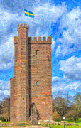Historic Fortress Digital Art Prints - Karnan Helsingborg Painting Print by Antony McAulay