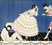 Stencil Framed Prints - Karsavina Framed Print by Georges Barbier