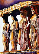 Maidens Prints - Karyatides Print by Maria Barry