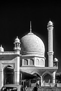 Mosque Posters - Kashmir Mosque monochrome Poster by Steve Harrington