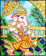 Original Art Reliefs Prints - Kasi Yatra Ganesh				 Print by Jayashree