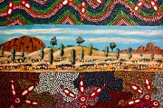 Aboriginal Art Paintings - Kata Tjuta Olgas by Bob Karpa