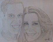 Celebrity Portraits Drawings Posters - Kate and William Poster by Melissa Nankervis