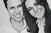 Kate Middleton Framed Prints - Kate and William Framed Print by Samantha Howell