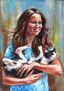 Kate Middleton Painting Framed Prints - Kate Middleton Duchess of Cambridge and her royal baby cat Framed Print by Daniel Cristian Chiriac