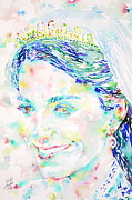 Cambridge Painting Prints - Kate Middleton Portrait.2 Print by Fabrizio Cassetta