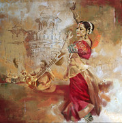 Dancer Art Prints - Kathak Dancer 8 Print by Catf