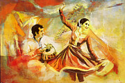 Dancer Art Painting Posters - Kathak Dancer Poster by Catf