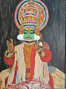 Tribal Art Paintings - Kathakali by Vasudha Maiya