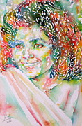 Kathleen Framed Prints - KATHLEEN BATTLE - watercolor portrait Framed Print by Fabrizio Cassetta