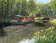 River Painting Originals - Kathleen May Chesterfield Canal Nottinghamshire by Richard Harpum