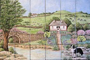 Tile Ceramics Posters - Kathys Irish Scene Tile Mural Poster by Julia Sweda-Artworks by Julia