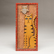 Cat Woodcarving Reliefs - Katricia and the Owl by James Neill
