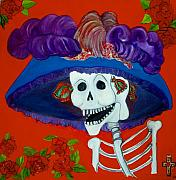 Mexican Folklore Paintings - Katrina by Andrea Vazquez-Davidson