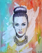 Musicians Mixed Media Originals - Katy Perry by Ruth Oosterman