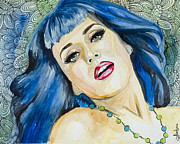Modern Drawings Metal Prints - Katy Perry Metal Print by Slaveika Aladjova
