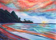 North Shore Pastels Posters - Kauai Bali Hai Sunset Poster by Marionette Taboniar