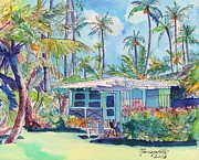 Plantation Paintings - Kauai Blue Cottage 2 by Marionette Taboniar