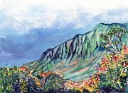 Waimea Valley Prints - Kauai Kalalau Valley Print by Marionette Taboniar
