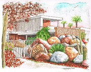 Watercolors Painting Originals - Kaufmann House Richard Neutra Architect - Palm Springs - California by Carlos G Groppa
