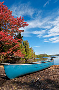 Clear Fall Day Posters - Kayak Boat during sunny day  Poster by Ulrich Schade